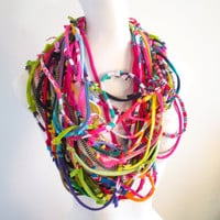 Technicolor Infinity Scarf Bright Colors Tribal Gypsy Cowl Scarf Upcycled Clothing Multicolor Knotty Bits Scarf Winter Accessories