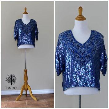 Vintage 80s Cobalt Blue Boho Gypsy Festival Sequin Beaded Blouse Top// Beaded Evening Cocktail Party Blouse Shirt// Cropped Sequin Top
