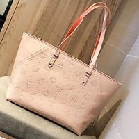 MCM New fashion more letter leather shopping leisure shoulder bag handbag Pink