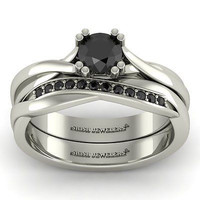 AMAZING 1.25CT BLACK ROUND 925 WHITE STERLING SILVER ENGAGEMENT AND WEDDING RING