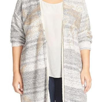 Plus Size Women's NIC+ZOE 'Foiled Leaves' Long Cardigan,