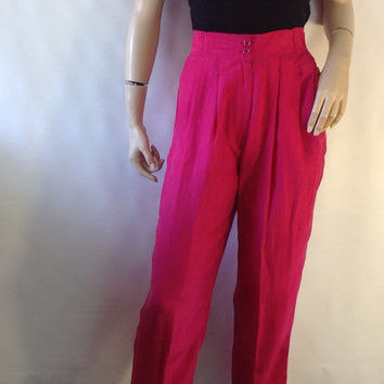 Pink silk pants. vintage trousers. 80s high waist pants  slouchy pants fushia magenta tapered  leg trousers.  S 29 in 73.6 cm