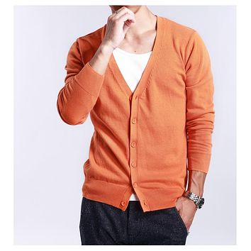 Spring and autumn multi-colored V-neck solid color sweater outerwear male cashmere cardigan knitted thin plus size loose slim