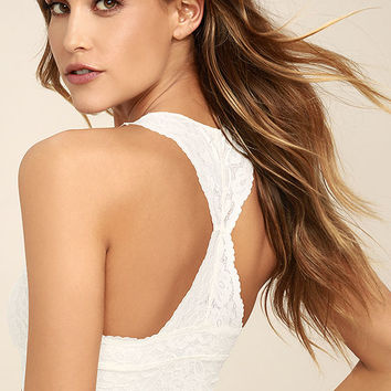 Free People Galloon Racerback Cream Lace Bralette