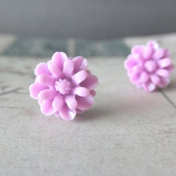 Orchid Purple Daisy Flower Post Stud Earrings by AquarianMindLLC