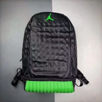 Air Jordan Retro 13 Black Green Backpack - Best Deal Online