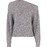 T by Alexander Wang Marled Asymmetric Chunky Pullover - INTERMIX®