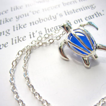 Sea Turtle Locket Necklace with Royal Blue Blue Sea Glass enclosed - FREE SHIPPING