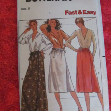 SALE UnCut 1970's Butterick Sewing Pattern, 6462! Size S-M-L, Women's Bust 31-40 inches, Summer and Spring Skirt Wraps, Apron Style