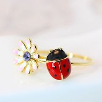 Floral Ladybug Ring Flower Crystal Ring Gold Plated Jewelry gift idea Size 6US