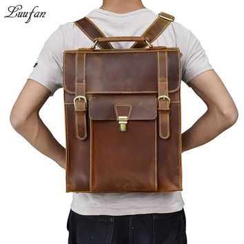 "Boys Backpack Bag Men's Genuine Leather  Fit 14"" Laptop Brown Cowhide Large School Bags Large Vintage Leather Travel Rucksack Fast Post AT_61_4"