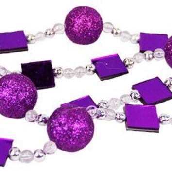 VOND4H 6' Rich Plum Magenta Glitter Beaded Christmas Garland