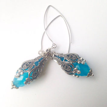 Blue Quartz  Earrings In Filigree Settings Sterling Silver Ear Wire Dangles Bridal Winter Fantasy Jewelry