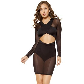 Cara Long-Sleeved Cutout Dress with Attached Underlay High-Waisted Shorts