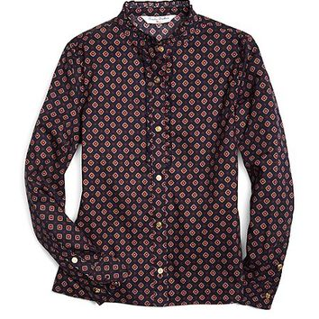 Tie Print Ruffle Blouse - Brooks Brothers