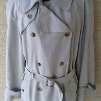 Rain coat overcoat Trench Fleet Street size ten taupe to tan to olive green double breasted classic rain coat