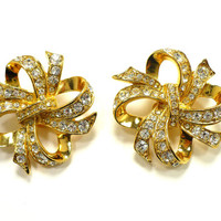 Rhinestone Earrings, KJL for AVON, Large Golden Bows, Ear Climber Swirls, Prom Pageant Rockabilly Wedding, Valentines Day, Gift For Her