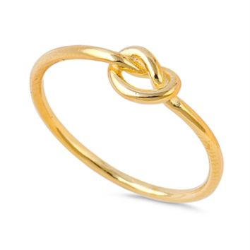 Ladies Yellow Gold Infinity Knot Ring Size 3-12 over .925 Sterling Silver