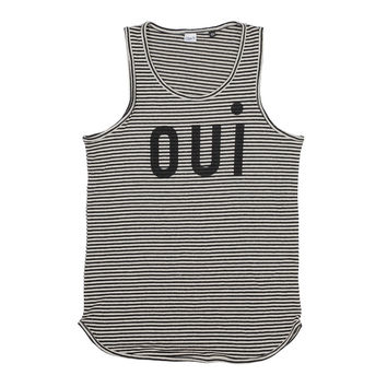 OUi Tank Top - Black & Natural Stripe