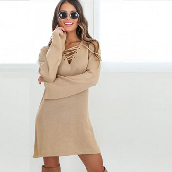 Josie Deep V Sweater Dress