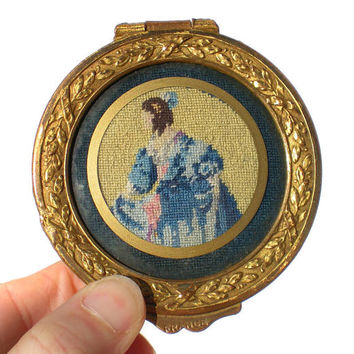French Petit Point Trinket Box Plush Velvet Lined Cushion Inside - Vanity Casket Box Floral Brass Pink Yellow & Blue Embroidered Woman