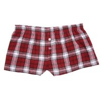 Maroon Red and White Check Novelty Print Flannel Boxer Shorts