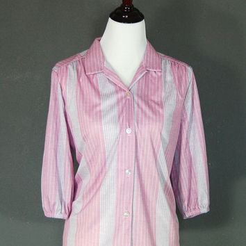 Vintage Blouse / Pink and Grey / Three Quarter Sleeves / Pleated Shoulders / 1970's