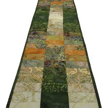 Quilted Table Runner Autumn Island Batik