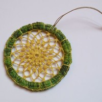 Bright Green & Yellow Crochet Lace Mandala Dreamcatcher by OneSClark