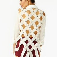 Studded Diamond Blouse - Ivory
