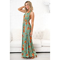 Because Of You Floral Maxi (Green)
