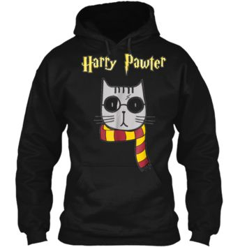 Harry Pawter Funny  Cute Magic Cat With Glasses Gift Pullover Hoodie 8 oz