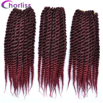 """12"""" Synthetic Ombre Color Braiding Hair Extensions Mambo Twist Crochet Braids Hair burgundy 75g/pack"""