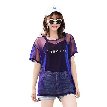Korean fashion t shirt women 2018 summer new sexy see through mesh top tees ulzzang best friends female t-shirt with camisole