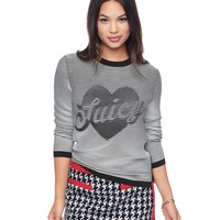 Textured Heart Graphic Pullover by Juicy Couture