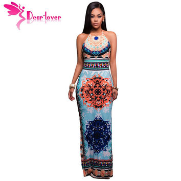 Women Maxi, African Pattern, Low Back Halter, Sheath Boho Dress
