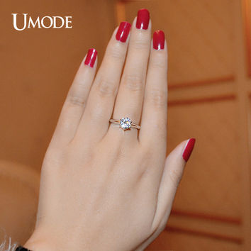 UMODE Hot 1 ct AAA Grade Round AAA+ CZ Anelli White Gold Color Brand Solitaire Wedding & Engagement Rings For Women UR0133