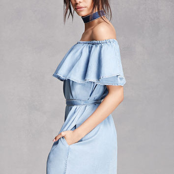 Chambray Off-the-Shoulder Dress