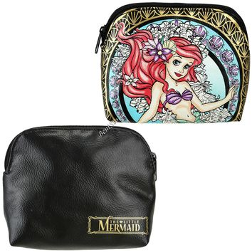 Licensed cool Disney Princess Ariel The Little Mermaid Stained Glass Makeup Cosmetic Bag NEW