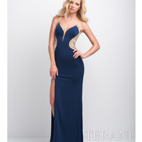 Navy Mesh V Neck Embellished Gown