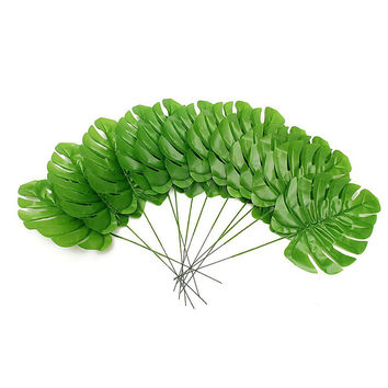 12pcs Large Artificial Monstera Branch Palm Fern Turtle Leaf Faux Foliage Leaves For Beauty Home Decors