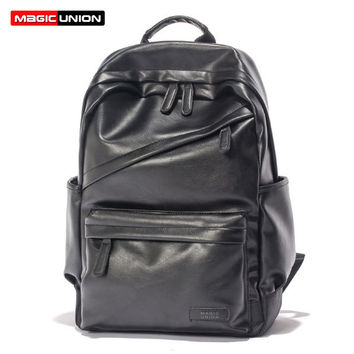 MAGIC UNION Men Patent Leather Backpack Men's Travel Bags & Men's Leather Backpack Western College Style Backpacks School Bags