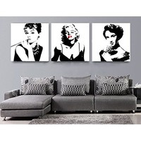 Spirit Up Art Large Classic Marilyn Monroe and Audrey Hepburn Picture Painting on Canvas Print Stretched and Framed,Ready to Hang, Modern Home Decorations Wall Art set of 3 Each is 40*50cm #D03-336