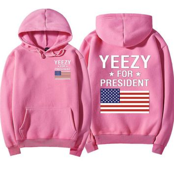 Fashion Flag Yeezy Print Hooded Coat Long Sleeve Cool Sweatshirt