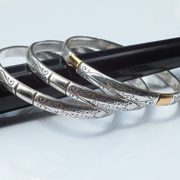 Three (3) Brighton 2 Tone Etched Cuff Bracelets / Bangles, Nice Estate Find