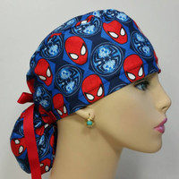Handmade Ponytail Medical Scrub Cap - Spider-Man Faces/ Red -100% cotton