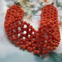 Antique Natural Coral Woven Beaded Natural Coral Bracelet