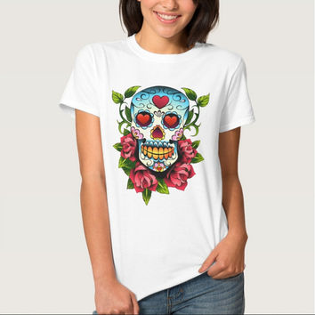 Women Skull T-shirt Short Sleeve Brand Clothing tshirt Tops casual ladies tops Tees 100% Cotton