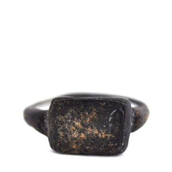 Lost Wax Studio Oxidized Brass Roman Seal Ring