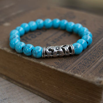 Turquoise Bracelet. Genuine Blue Turquoise Stretch Bracelet. Beaded Jewelry. Stone Jewelry